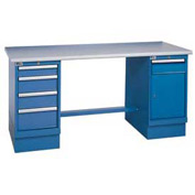 60 x 30 Plastic Square Edge 4 Drawer & Cabinet Workbench