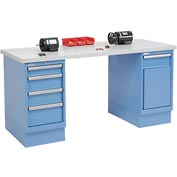 72 x 30 Plastic Square Edge 4 Drawer & Cabinet Workbench