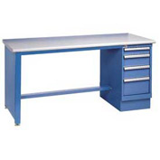 72 x 30 Plastic Square Edge 4 Drawer Workbench