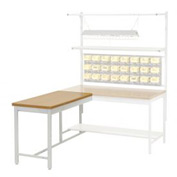 "48""W x 30""D Euro Style Production Workbench Return - Shop Top Square Edge - Gray"