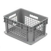 "Akro-Mils Straight Wall Container 37208 Mesh Sides & Base 15-3/4""L x 11-3/4""W x 8-1/4""H, Gray - Pkg Qty 12"