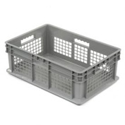 "Akro-Mils Straight Wall Container 37678 Mesh Sides Solid Base 23-3/4""L x 15-3/4""W x 8-1/4""H, Gray - Pkg Qty 4"