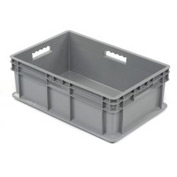 "Akro-Mils Straight Wall Container 37688 Solid Sides & Base 23-3/4""L x 15-3/4""W x 8-1/4""H, Gray - Pkg Qty 4"