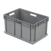 "Akro-Mils Straight Wall Container 37682 Solid Sides & Base 23-3/4""L x 15-3/4""W x 12-1/4""H, Gray - Pkg Qty 3"