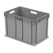 "Akro-Mils Straight Wall Container 37866 Solid Sides & Base 23-3/4""L x 15-3/4""W x 16-1/8""H, Gray - Pkg Qty 2"