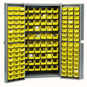 "Bin Cabinet Deep Door with 156 Yellow Bins, 16-Gauge Assembled Cabinet 38""W x 24""D x 72""H, Gray"