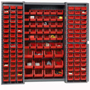 "Bin Cabinet Deep Door with 144 Red Bins, 16-Gauge Assembled Cabinet 38""W x 24""D x 72""H, Gray"