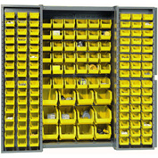 "Bin Cabinet Deep Door with 144 Yellow Bins, 16-Gauge Assembled Cabinet 38""W x 24""D x 72""H, Gray"