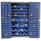 "Bin Cabinet Deep Door with 136 Blue Bins, 16-Gauge Assembled Cabinet 38""W x 24""D x 72""H, Gray"