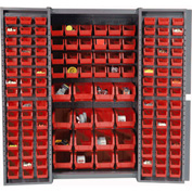 "Bin Cabinet Deep Door with 136 Red Bins, 16-Gauge Assembled Cabinet 38""W x 24""D x 72""H, Gray"