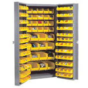 "Bin Cabinet Deep Door with 132 Yellow Bins, 16-Gauge Unassembled Cabinet 38""W x 24""D x 72""H, Gray"
