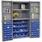 "Bin Cabinet Deep Door with 68 Blue Bins, Shelves, 16-Ga. Assembled Cabinet 38""W x 24""D x 72""H, Gray"