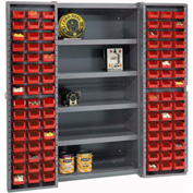 "Bin Cabinet Deep Door with 96 Red Bins, Shelves, 16-Gauge Assembled Cabinet 38""W x 24""D x 72""H, Gray"