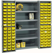 "Bin Cabinet Deep Door with 96 Yellow Bins, Shelves, 16-Ga Assembled Cabinet 38""W x 24""D x 72""H, Gray"