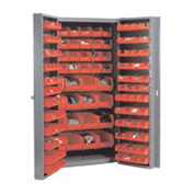 "Bin Cabinet Deep Door with 156 Red Bins, 16-Gauge Unassembled Cabinet 38""W x 24""D x 72""H, Gray"