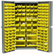 "Bin Cabinet Deep Door with 132 Yellow Bins, 16-Gauge Assembled Cabinet 38""W x 24""D x 72""H, Gray"