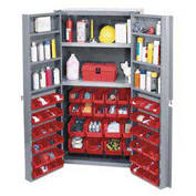 "Bin Cabinet Deep Door with 72 Red Bins, Shelves, 16-Ga. Unassembled Cabinet 38""W x 24""D x 72""H Gray"