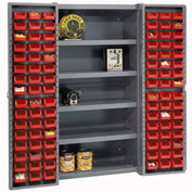 "Bin Cabinet Deep Door w/ 96 Red Bins, Shelves, 16-Gauge Unassembled Cabinet 38""W x 24""D x 72""H, Gray"