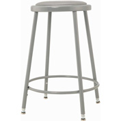 "Shop Stool with Padded Seat - Adjustable Height 24"" - 33"" - Gray - Pkg Qty 2"
