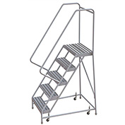 "5 Step Aluminum Rolling Ladder, 16"" Ribbed Step, 30"" Handrails"