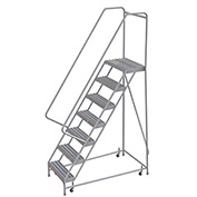 "7 Step Aluminum Rolling Ladder, 16""W Ribbed Step, 30"" Handrails"