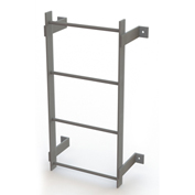 4 Step Steel Standard Uncaged Fixed Access Ladder, Gray - WLFS0104