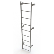 9 Step Steel Standard Uncaged Fixed Access Ladder, Gray - WLFS0109