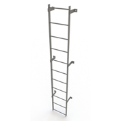 11 Step Steel Standard Uncaged Fixed Access Ladder, Gray - WLFS0111