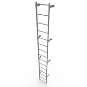 15 Step Steel Standard Uncaged Fixed Access Ladder, Gray - WLFS0115