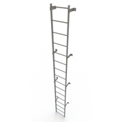 16 Step Steel Standard Uncaged Fixed Access Ladder, Gray - WLFS0116