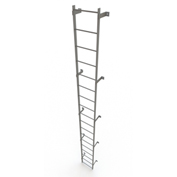 18 Step Steel Standard Uncaged Fixed Access Ladder, Gray - WLFS0118