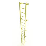 19 Step Steel Standard Uncaged Fixed Access Ladder, Yellow - WLFS0119-Y