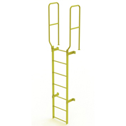 7 Step Steel  Walk Through With Handrails Fixed Access Ladder, Yellow - WLFS0207-Y