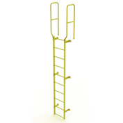 10 Step Steel Walk Through With Handrails Fixed Access Ladder, Yellow - WLFS0210-Y