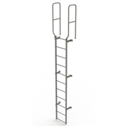 11 Step Steel Walk Through With Handrails Fixed Access Ladder, Gray - WLFS0211