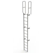 13 Step Steel Walk Through With Handrails Fixed Access Ladder, Gray - WLFS0213