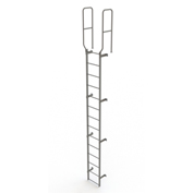 14 Step Steel Walk Through With Handrails Fixed Access Ladder, Gray - WLFS0214