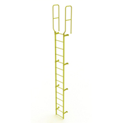 14 Step Steel Walk Through With Handrails Fixed Access Ladder, Yellow - WLFS0214-Y
