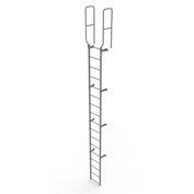 17 Step Steel Walk Through With Handrails Fixed Access Ladder, Gray - WLFS0217