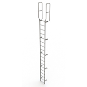 18 Step Steel Walk Through With Handrails Fixed Access Ladder, Gray - WLFS0218
