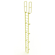 19 Step Steel Walk Through With Handrails Fixed Access Ladder, Yellow - WLFS0219-Y