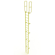 20 Step Steel Walk Through With Handrails Fixed Access Ladder, Yellow - WLFS0220-Y
