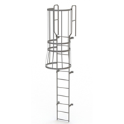 11 Step Steel Caged Walk Through Fixed Access Ladder, Gray - WLFC1211