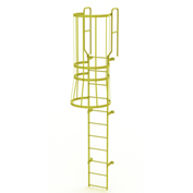 11 Step Steel Caged Walk Through Fixed Access Ladder, Yellow - WLFC1211-Y