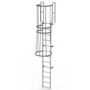 13 Step Steel Caged Walk Through Fixed Access Ladder, Gray - WLFC1213
