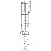 15 Step Steel Caged Walk Through Fixed Access Ladder, Gray - WLFC1215