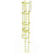 17 Step Steel Caged Walk Through Fixed Access Ladder, Yellow - WLFC1217-Y