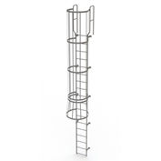 18 Step Steel Caged Walk Through Fixed Access Ladder, Gray - WLFC1218