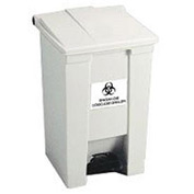 Rubbermaid 8 Gallon Indoor Utility Step On Waste Container Plastic, White - RCP6143WHI