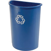 21 Gallon Half Round Rubbermaid Recycling Container - Blue